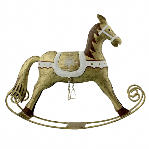Golden Grandeur Golden Rocking Horse Christmas Ornament For Christmas Decorating